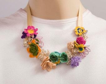 Bib necklace,crochet  oya necklace  ,crochet  bip necklace,crochet necklace, fiber  necklace ,