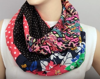 SALE Infinity scarf,Loop scarf, multicolor patchwork  scarf