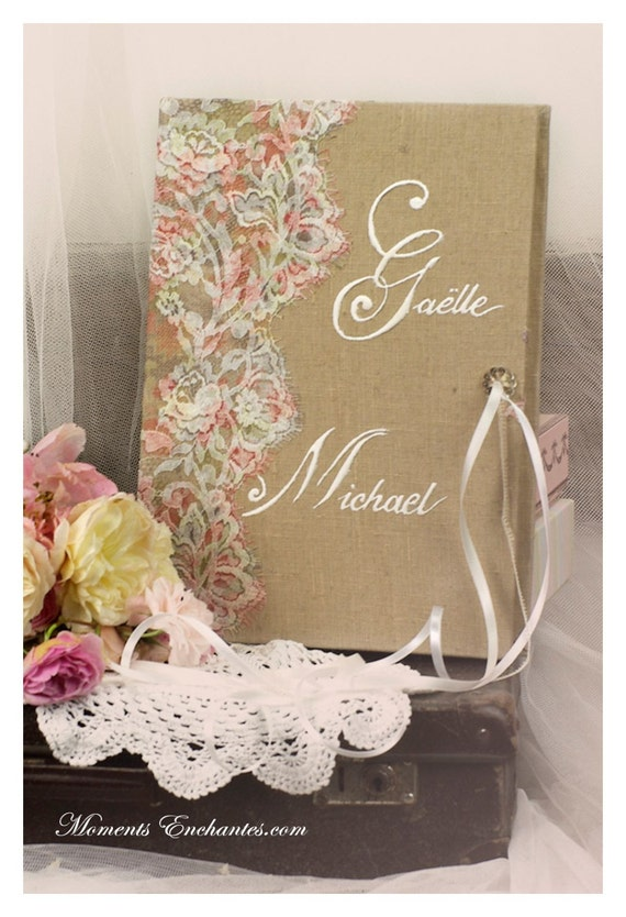 "Guest book ""Nuage de Dentelle"" lace from France Alicia et Julien Private"