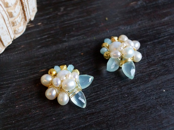 Cluster earrings - Chalcedony stud earrings - multi-stone stud earrings