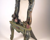 green pink victorian picture frame stand alone