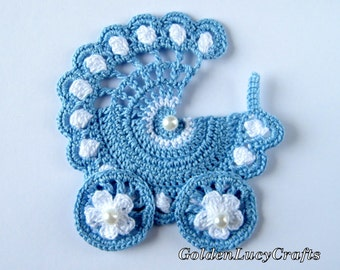 Baby Stroller Crochet Applique, Finish item, Carriage, buggy, pram, baby boy