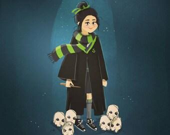 Custom Hogwarts portrait! Custom illustration, birthday present, Harry Potter, Gryffindor, Slytherin, Hufflepuff, Ravenclaw uniform, costume