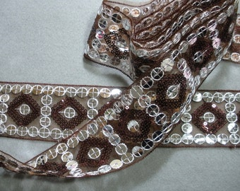 Brown and Silver Sparkly Sequins Organza Lace Trim .. 2 1/8  Inch Wide .. You Choose Length (1 Yd, 2 Yds).. No. L271