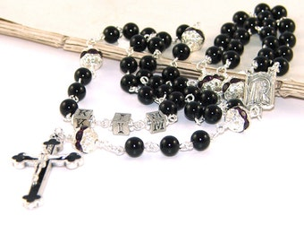 Name Rosary, Our Lady of Lourdes Center, Black Onyx and Swarovski Crystal Beads