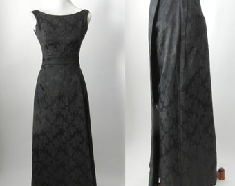 1960s Gown, Vintage Black Gown, 1960s Black Dress, Vintage Dress, Vintage Gown, 60s Formal Gown, 60s Formal Dress, Black Damask Dress, Retro