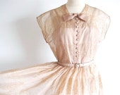 ON SALE 1/2 OFF Vintage 1950s Full Skirt Dress, 50s Sheer Dress, Tea Length Silk Organza Dress, Beige 50s Dress, New Look 50s Dress, Cafe Au