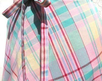 70s Wrap Skirt in Pastel Plaid