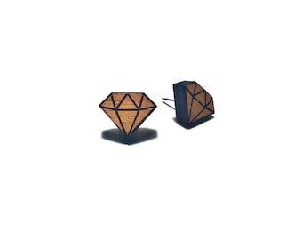 Wooden jewellery - earrings - diamond - geometric stud earrings - Made in Australia - Hypoallergenic
