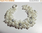 25% Off SALE thru Sun Wedding Jewelry, Pearl Crystal Silver Bracelet, Mothers Day Gift, Mom Sister Bridesmaid, Chunky Bracelet, Cocktail, Va