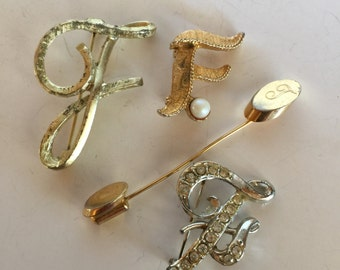 Initial Letter F Brooch Collection Vintage lot 774
