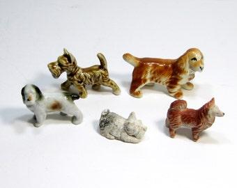 Vintage Dog Figurines: 5 Little Vintage Dog Figurines, Instant Canine Collection