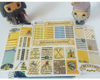 House Hufflepuff ~Hand-Drawn Harry Potter Inspired Weekly Sticker Kit For Erin Condren Vertical & EC Hardbound Planners