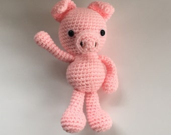 Hand crocheted Pig - little pig amigurumi - Made to Order - crochet pig