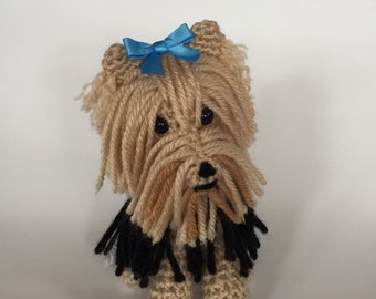 Yorkie Amigurumi - crocheted dog - collectible - made to order