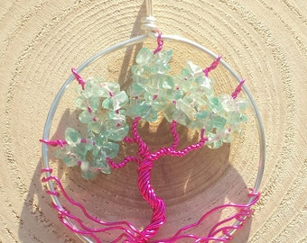 Apatite - Tree of Life Pendant with Silver and Pink Wire