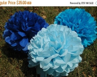 FLASH SALE Tissue Paper pom poms, Birthday party decoration, baby shower boy decoration - 12 pcs.  party package + FREE Matching Confetti!