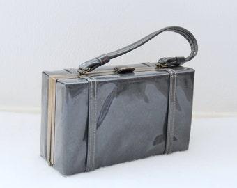 1960s Gray Box Purse Hard Shell Shiny Patent Leather Top Closure Womens Vintage Handbag
