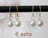 SET of 4 bridesmaids earrings, Sterling Silver or Gold, pearl drop earrings, 4 pairs drop earrings, gold pearl earrings, Silver earrings