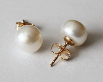 8-8.5 mm AAA gold filled genuine pearl earring studs- Pearl stud earrings- Gold pearl studs - Bridesmaids earrings- Birthday gift