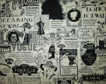 Vogue Sewing Newspaper Ads Black White Cotton Fabric Fat Quarter or Custom Listing