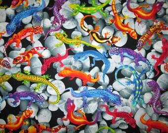 Gecko Stones Geckos Realistic Cotton Fabric Fat Quarter or Custom Listing