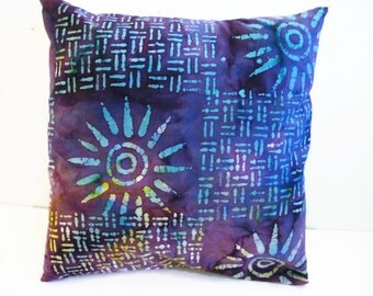 Purple Batik Print Bohemian Style Print Pillow Cover Purple Blue Sunburst Pillow Cover Size 16 x 16