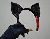 Cat Costume Accessories, ears and gloves with gold nails