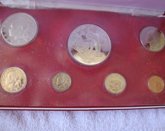 Liberia Proof Set 1975, 7 coins, 42mm Five Dollar coin is Silver, World Coins