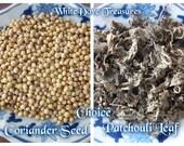 PATCHOULI Leaf CORIANDER Seed 1oz ORGANIC Dry Herb Whole Powder Culinary Spice Cook Bath Altar Alchemy Potent Powerful Earth Magick