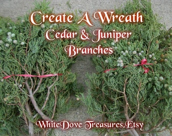 CEDAR & JUNIPER Branches 2 lb Organic Fresh Natural Bulk Wreath Craft Making Smudge Wand Incense Sweat Lodge Winter Decoration New Mexico