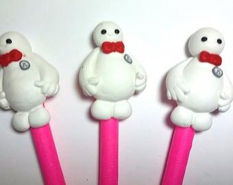 New Cute Handmade Polymer Clay Writing Pen Cartoon White Ghost