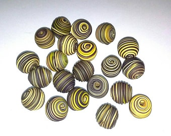 10 Fimo Polymer Clay Fimo Beads Round yellow brown color 14mm
