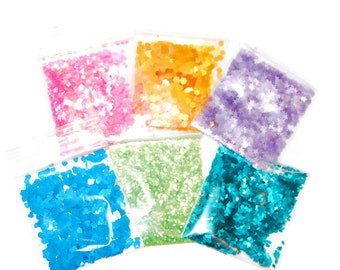 NEW!! Bright Pastels Solvent Resistant Glitter Sampler Set of 6 Bright Colors and Shapes Glitters for Glitter Nail Art and Glitter Crafts