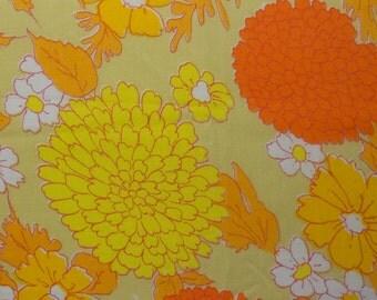 Orange and Yellow Mod flowers on Vintage Sheet Fat quarter