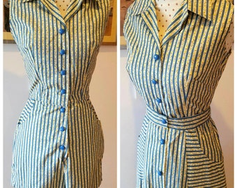40s 50s 1940s 1950s vintage two pieces striped playsuit playset romper with matching skirt