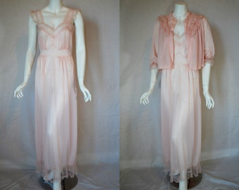 1950s Luxite Sheer Pink Nightgown Bed jacket Set, 34, Medium, New Old Stock