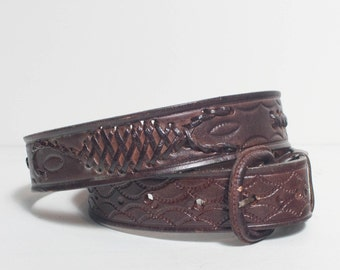 38 | Tooled Leather Belt with Woven Leather Details