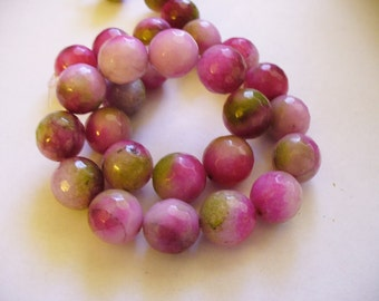 Jade Beads Gemstone Faceted Pinks and Greens Round 12mm