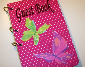 Guest Book, Pink Butterfly Party, Butterfly Party  Autograph Book, Butterfly Baby Shower, Baby Shower Autograph Book, Butterfly Guest Book