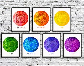Chakra Art with Meditation Affirmations Set