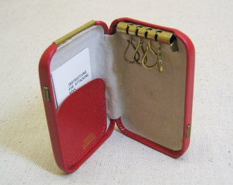 Red Leather Key Case, Cameo Brand, Mint, Vintage