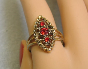 Sarah Coventry Red Rhinestone Filigree Ring, Adjustable