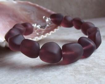 Plum Sea Glass Bracelet:  Amethyst Purple Beaded Beach Resort Wear Accessory