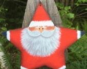 Star Santa ornament, Santa Claus ornament, xmas ornament, wood Santa, christmas ornament, wood ornament, prim ornament, folk art Santa, red