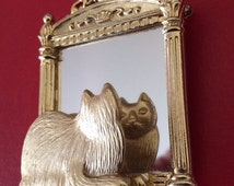 Signed JJ Busy Cat Looking in the Mirror Brooch
