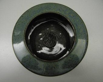 Bonsai Pot // Black with Blue Grey Rim // Round