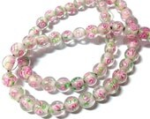 60 pieces 6mm Pink Flower Round Glass Beads