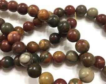 8mm Picasso Jasper Beads, Natural Healing Stone, Gemstone Beads