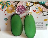 Green Tagua Nut-Slice Earrings, Tagua, Boho Earrings, Boho chic